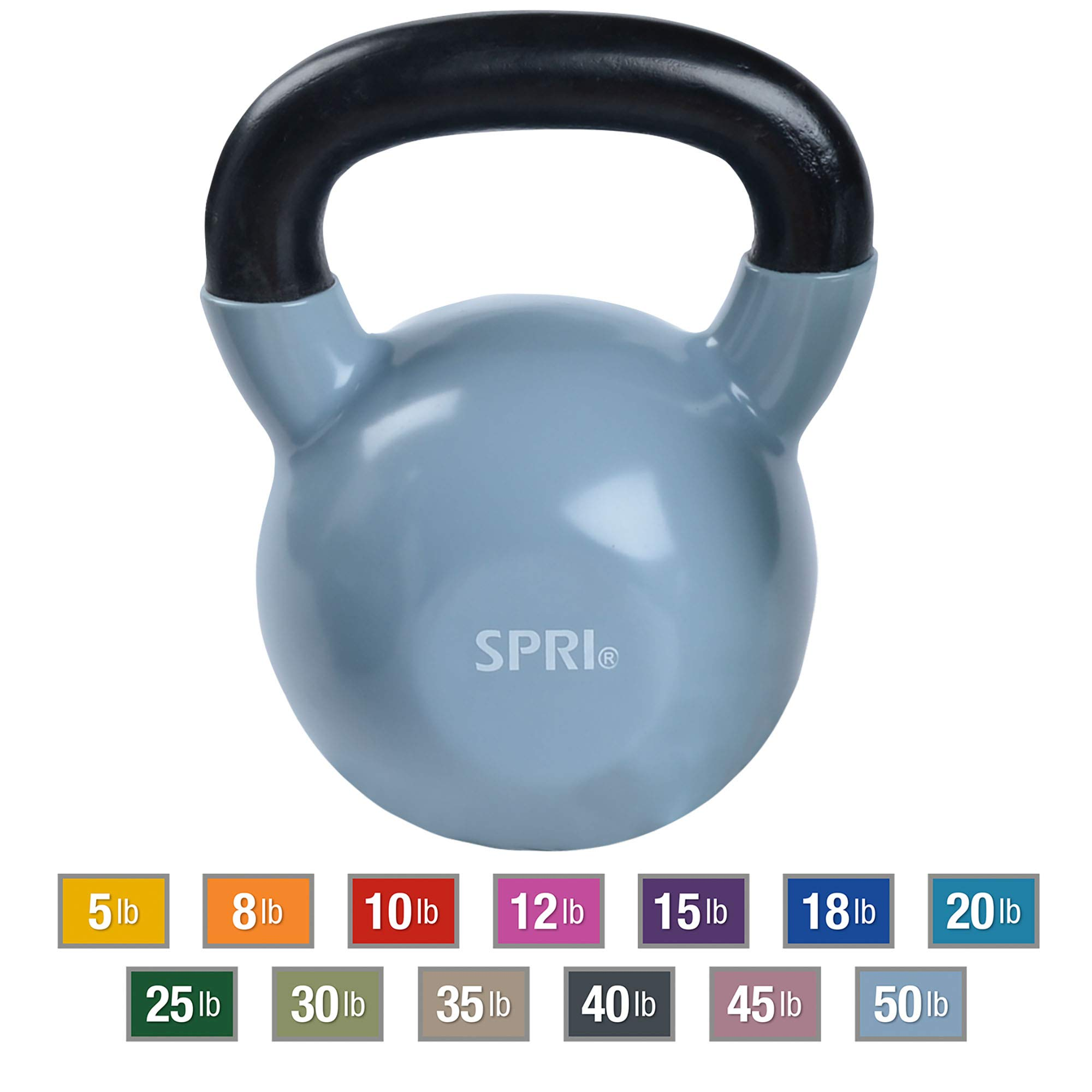 SPRI Kettlebell Weights Deluxe Cast Iron Vinyl Coated Comfort Grip Wide Handle Color Coded Kettlebell Weight Set (Light Blue, 50-Pound)