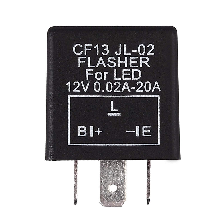 Justech 2 Pin Flasher Relay DC 12V LED Flasher Rel/è Motociclo Indicatore Lampeggiante Rel/è Velocit/à Regolabile