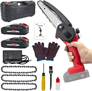HAJACK Mini Chainsaw 6-Inch, Cordless Saw With 3 Chains, 2 Batteries & A Charger, Electric Battery Chainsaw, Hand Held Power Chain Saws for Tree Trimming & Wood Cutting, Small Rechargeable Chain Saw