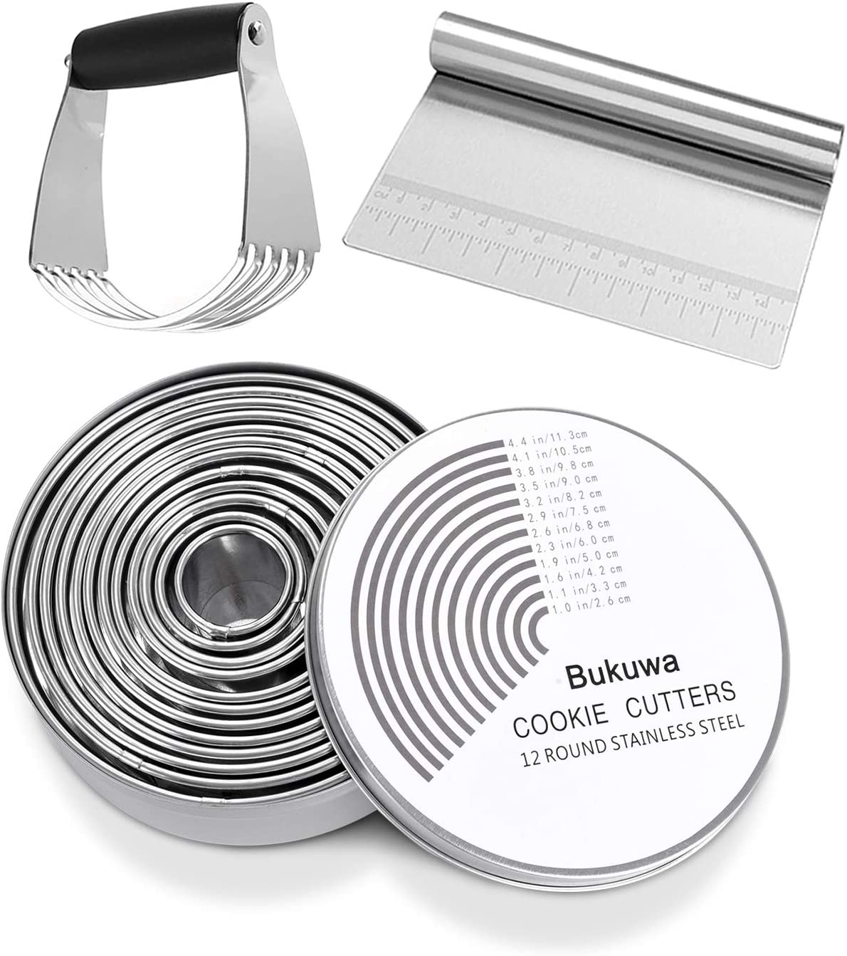 Round Cookie Biscuit Cutter,Dough Scraper,Pastry Blender Set,18/8 304 Stainless Steel Cookie Cutters And Bench Scraper,Graduated Pastry Cutter,14 Pieces Professional Baking Supplies