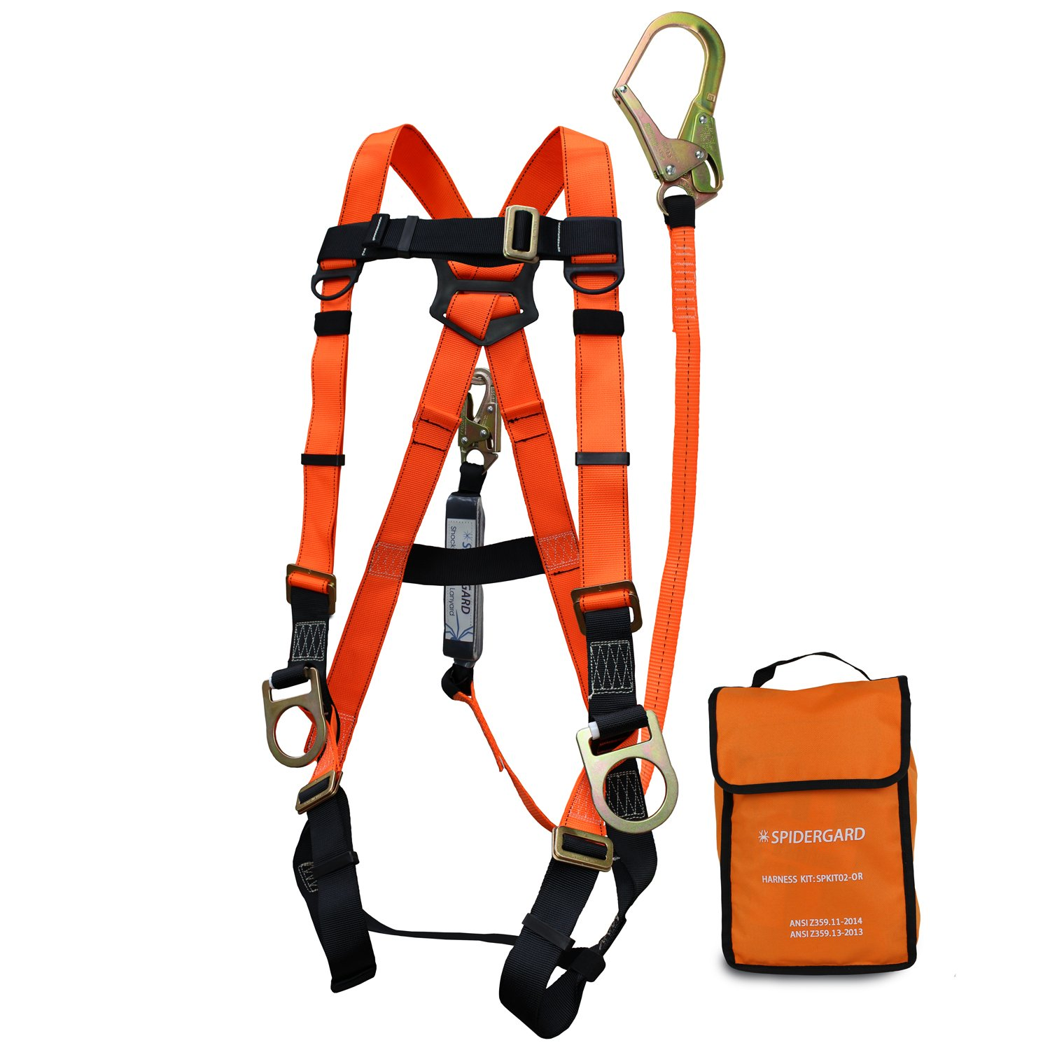 Spidergard SPKIT02 Three D-Ring Full Body Fall Protection Safety Harness Combo with 6ft Shock Absrober Rebar Hook Lanyard (2 Packs, Orange, L-XL)