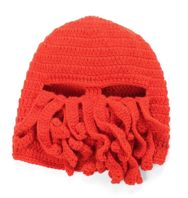 Bigood Damen Herren Winter Warm Octopussen Form Ski Masken Mütze Gestickt Mütze