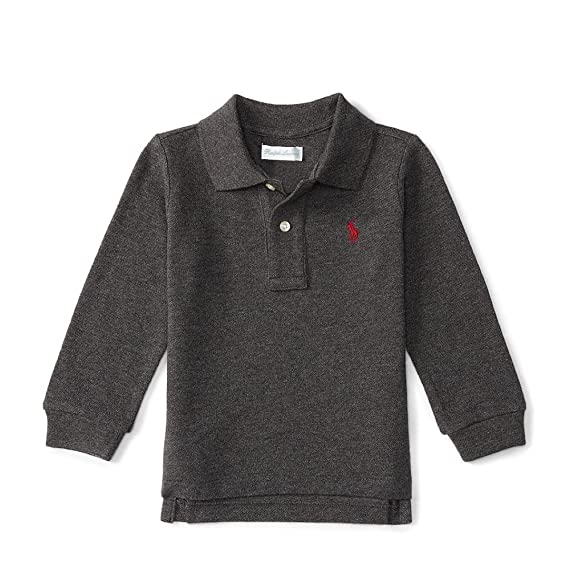 c89d581a5 Ralph Lauren Baby Boy Long Sleeve Polo Shirt, Top Authentic 6m Grey: Amazon. co.uk: Clothing