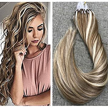 Amazon ugeat 18 1gs 50strands micro loop hair extensions ugeat 18quot 1gs 50strands micro loop hair extensions dip dyed dirty blonde to pmusecretfo Images