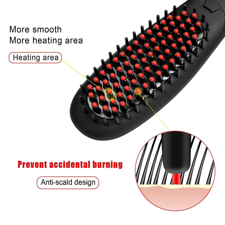 Cepillo alisador,Euph cepillo alisador de anion Tecnologia de calentar muy rapido,Cuidado pelo con anion,Anti-quemadura(black): Amazon.es: Belleza