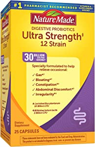 Nature Made Ultra Strength 12 Strain Digestive Probiotics 30 Billion CFU Per Serving, 25 Capsules, for Digestive Balance (Packaging May Vary)