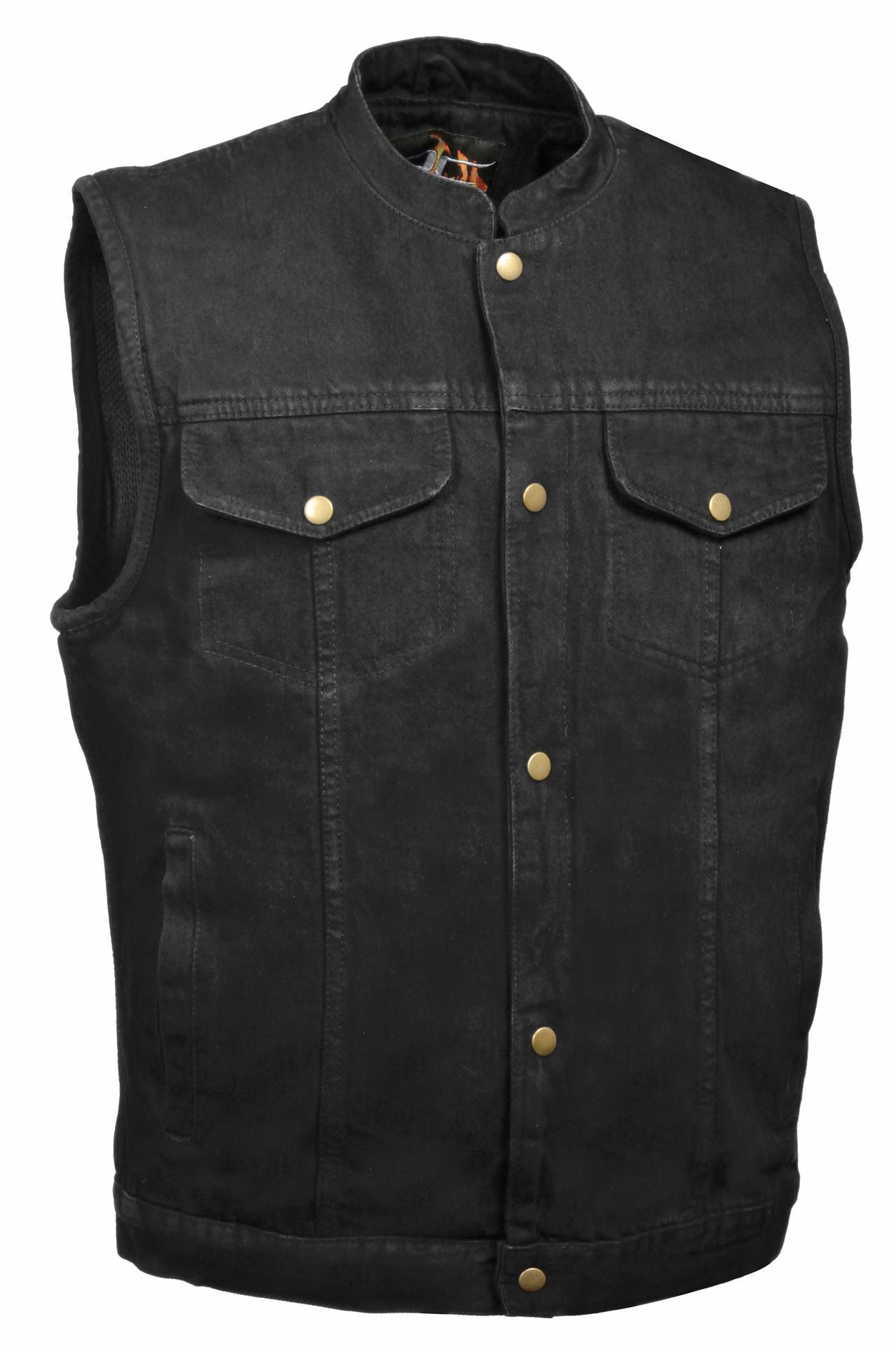 Men's Snap Front Denim Club Style Vest w/ Gun Pocket (Black, L) by Milwaukee Leather