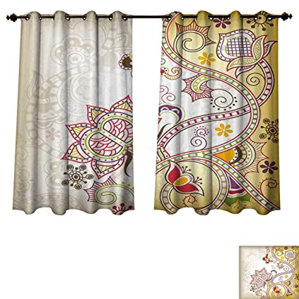 Asian flower curtains