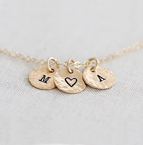 Amazon.com  Personalized Tiny Disc Necklace - Dainty Initial ... 7bba77671a5a