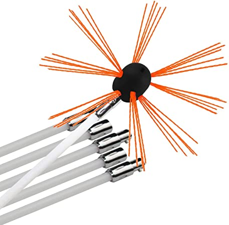 Chimney Brush-Electrical Drill Drive Sweeping Cleaning Tool Kits with Nylon Flexible Rods 12 rods
