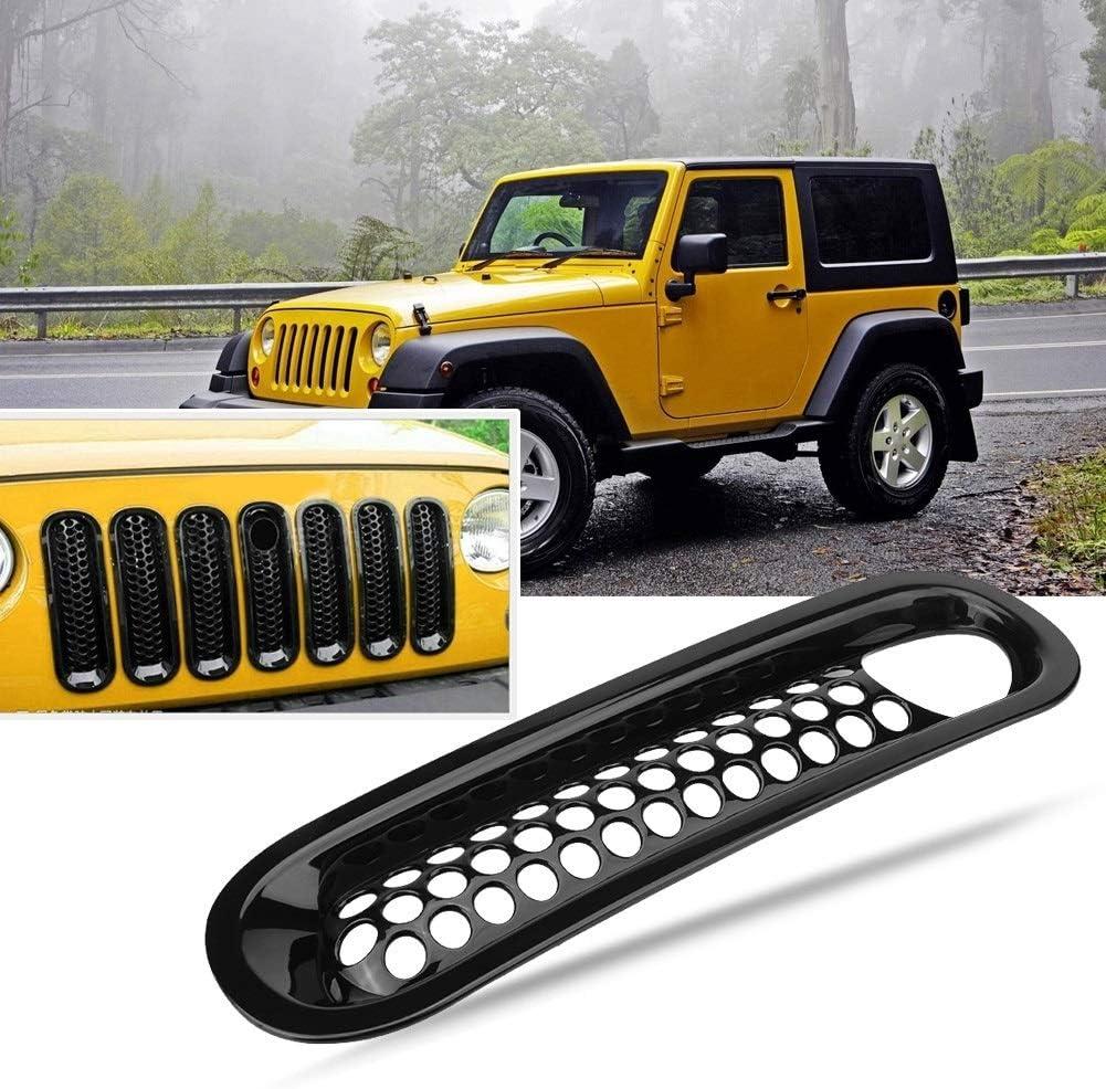 KSTE 7pcs Front Grill Mesh Grille Insert Cover Trim Black for Jeep Wrangler Rubicon Sahara Jk 08-17