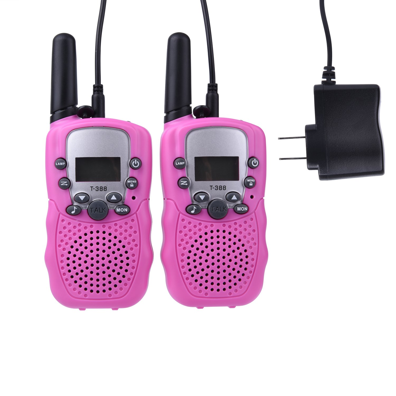 Egoelife Kids Walkie Talkies Two Ways Radio Long Range 22 Channel with US Charger(4 Packs) (Blue, Pink, Black, Yellow) by Egoelife (Image #3)