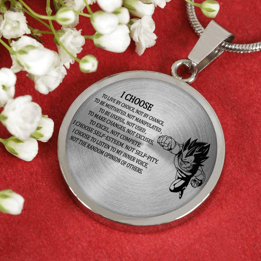 Dragon Ball Super Gift ThisYear I Choose Circle Necklaces Pendant Vegeta Pendants Necklace for Men Unique Birthday Gifts for Dad Brother