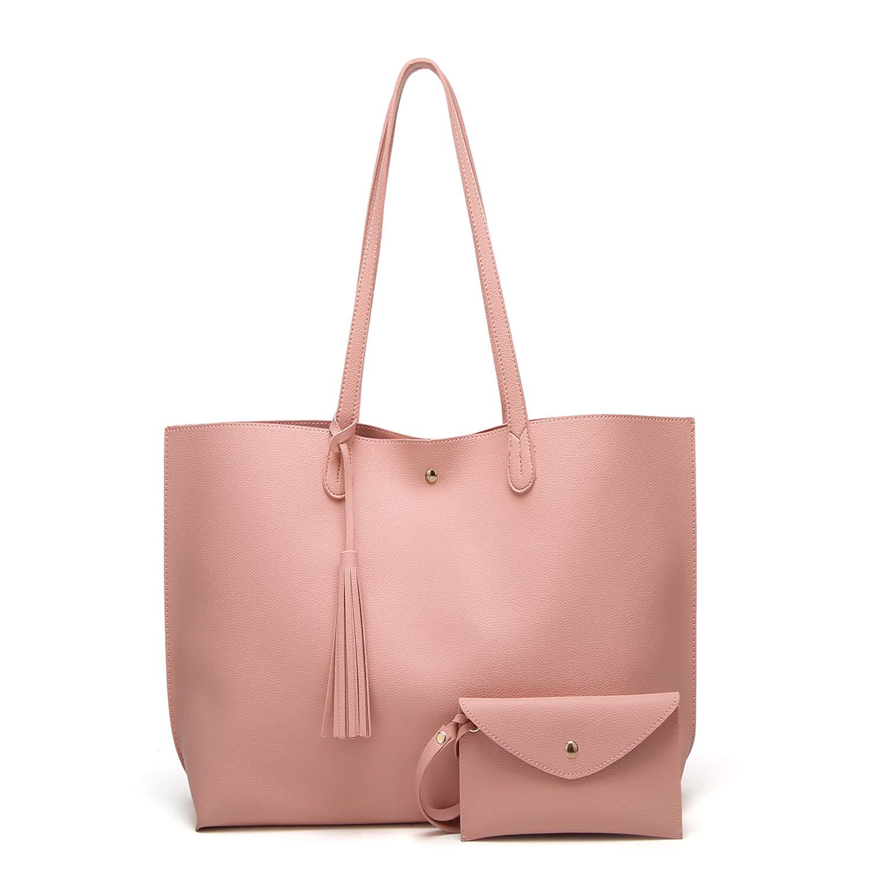 SIFINI Women Tassels PU Leather Bag Simple Style Shopping Handbag Shoulder Tote Bag (pink)