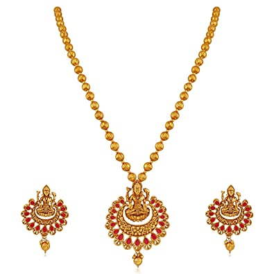 edb82cad7d4 Buy Apara Ruby Laxmi Temple Jewellery Necklace Set for Women Online at Low  Prices in India