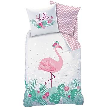 Matt Rose Bettwäsche Flamant Rosa Flamingo Blumen Größe135x200