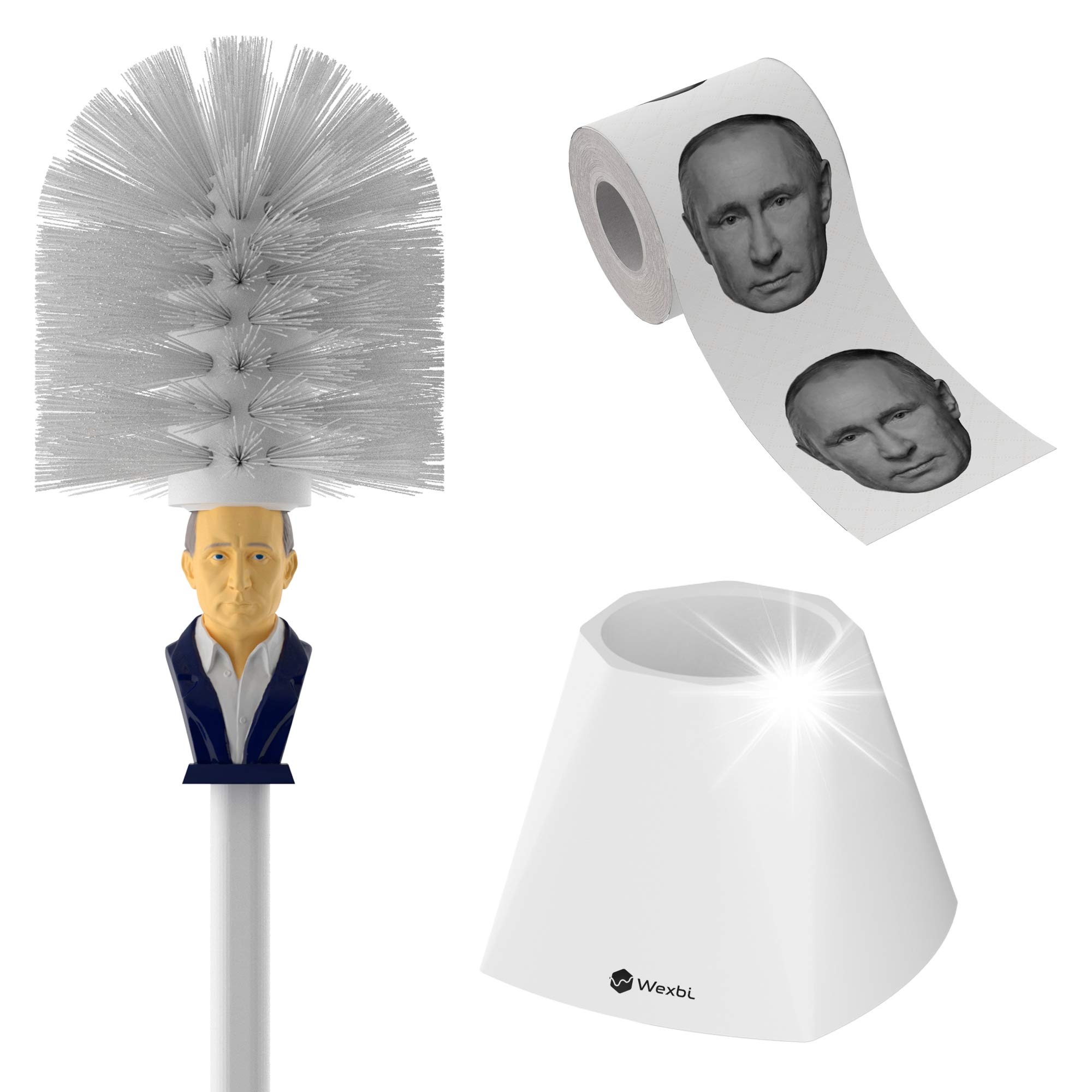 Toilet Brush and Putin Toilet Paper - Hilarious Toilet Bowl Cleaner with Holder and Roll of Wipes with Russian President Vladimir Putin's Face - Funny Political Gag Novelty Bathroom Decor