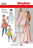 Simplicity Pattern 8085 H5 Misses' Vintage 1950s Wrap Dress in Two Lengths, Size 6-8-10-12-14