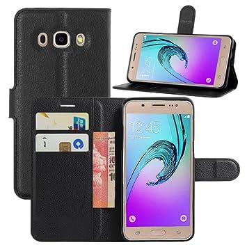 HualuBro Funda Galaxy J5 2016, Premium PU Cuero Leather Billetera Wallet Carcasa Flip Case Cover para Samsung Galaxy J5 2016 Smartphone (Negro): Amazon.es: Electrónica