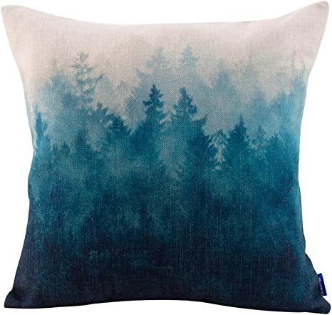 Amazon Com Jes Medis Forest Scenery Series Cotton Linen Decorative Square Throw Pillow Covers Cushion Case For Home Sofa Bedroom Office Car 18 X 18 Inch 45 X 45 Cm Home Kitchen