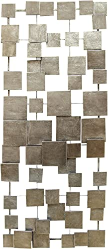 Stratton Home Decor SHD0211 Geometric Tiles Wall Decor, 14.00 W X 1.25 D X 32.25 H, Champagne