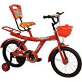 "Rising India 16"" Red kids Balloon Bicycle for 5-7 years double seated with basket and side wheel (Semi Assembled)"