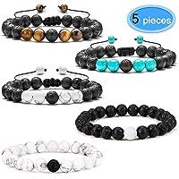5 Pack Essential Oil Bracelets, EAONE Lava Rock Stone Bead Bracelet 8 mm Stretchable Black Matte Agate & White Howlite Beads Stone for Men Women