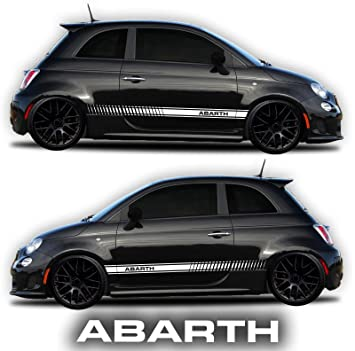 Amazon Com Fiat 500 Abarth Side Decals Stickers Rocker Panel Racing Stripes 2 Sides Graphics Abarth Windshield Decal Free By Sgmotiv Black