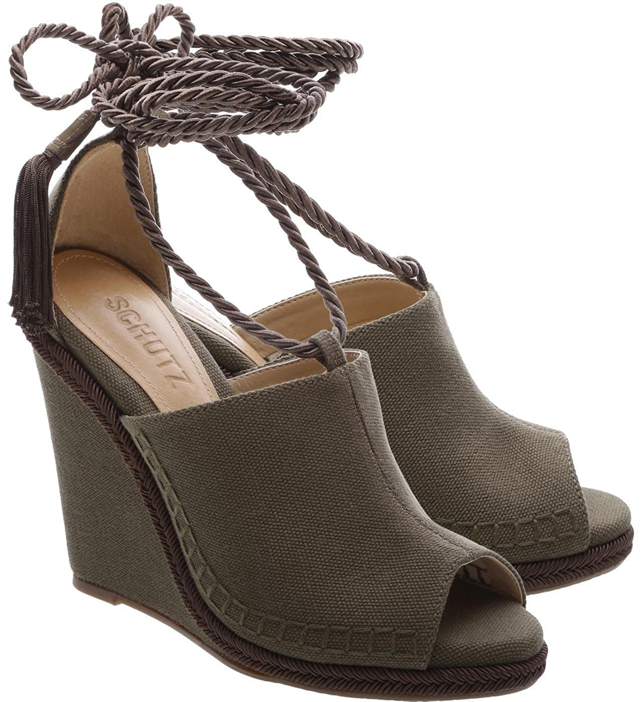 de2f3e29d6735 Amazon.com: SCHUTZ Caetana Dark Olive Green Peep Toe Canvas Tie Up ...