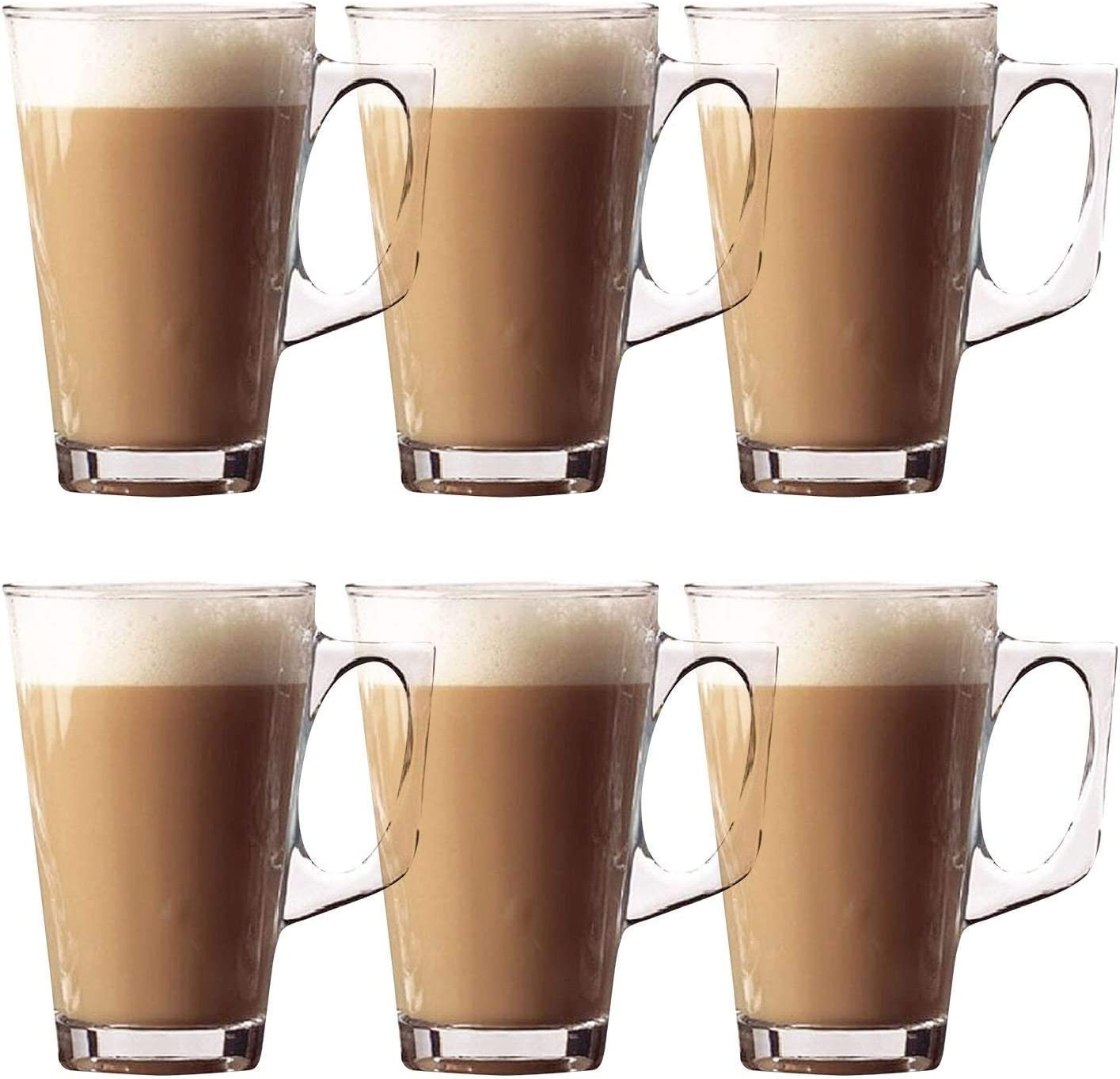 Hot Chocolate Cappuccino Coffee Ideal for Tea Set of 6 Latte Glasses /Ð Premium Pack of Stylish 11cm Cafe Mugs Cups 240ml Latte Espresso