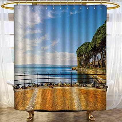 Italian Shower Curtains Fabric Extra Long Terrace Promenade Balcony And Pine Trees In Bolsena Lake Italy