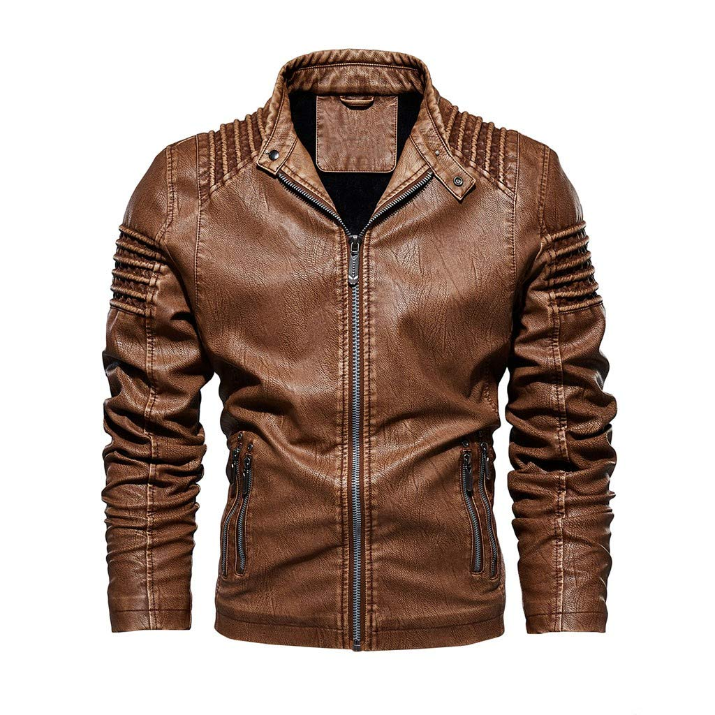 Funnygals - Men's Faux Leather Genuine Jacket Transition Biker Ribbed Fashion Cotton Coats Brown