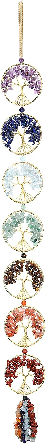 Jovivi 7 Chakra Gemstones Reiki Healing Crystals Tree of Life Hanging Ornament Tumbled Chips Tassel Yoag Room Decor Chakra Decorations for Home Indoor