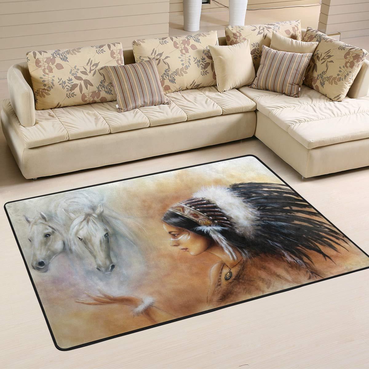 XiangHeFu Personalisierte Teppiche, amerikanische Indianer, 91,4 x 61 cm, Fußmatte, weich für Wohnzimmer, Schlafzimmer, Zuhause, Küche, Dekoration, Gesponnenes Polyester, Image 257, 72x48 Inches