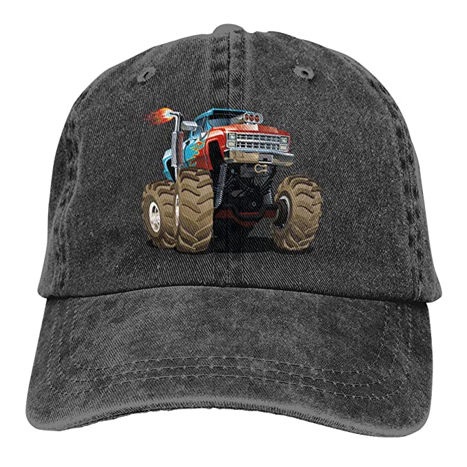 46799fab Image Unavailable. Image not available for. Color: Monster Truck Fired Dad  Denim Hat Vintage Baseball Caps Adjustable Men's