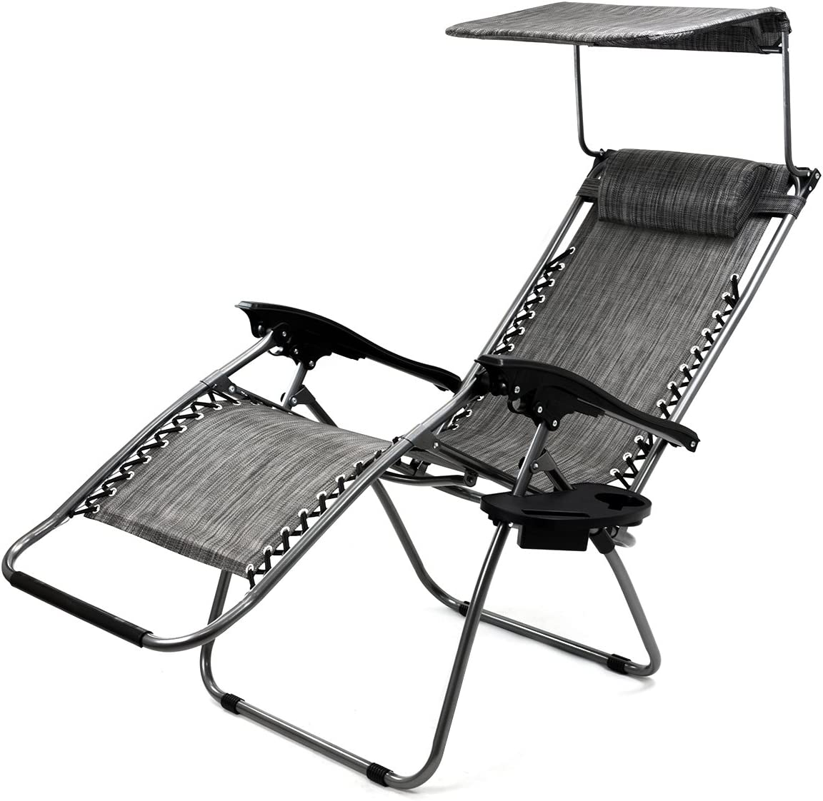 XtremepowerUS Zero Gravity Chair Adjustable Reclining Chair Pool Patio Outdoor Lounge Chairs w Cup Holder Gray-Single w Sunshade