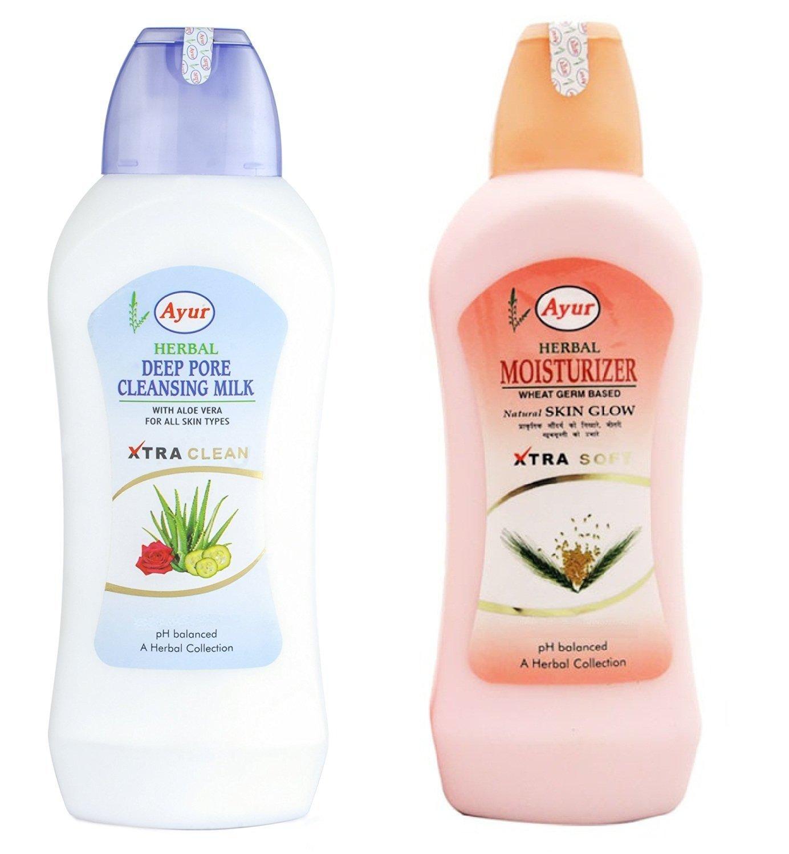 Ayur limpieza profunda de los poros leche y almendras dulces (Pack de 2) 1000 ml con Ayur producto en Combo: Amazon.es: Belleza
