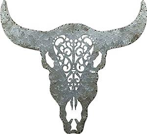 Parisloft Metal Galvanized Bull Skull Head Wall Decor 3D Faux Cow Skull Sculpture Decoration Bull Skull Decor Wall Art for Bedroom, Bathroom, Office, Rustic Wall Decor and Xmas Gifts 20''x1.1''x18''