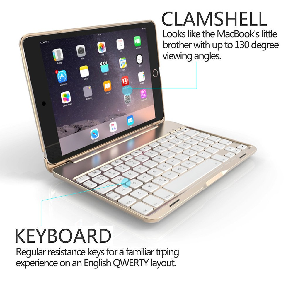 Bluetooth teclado Funda para iPad Mini 4, genjia Premium portátil teclado inalámbrico con tapa carcasa rígida de Aluminio con 7 colores de retroiluminación ...