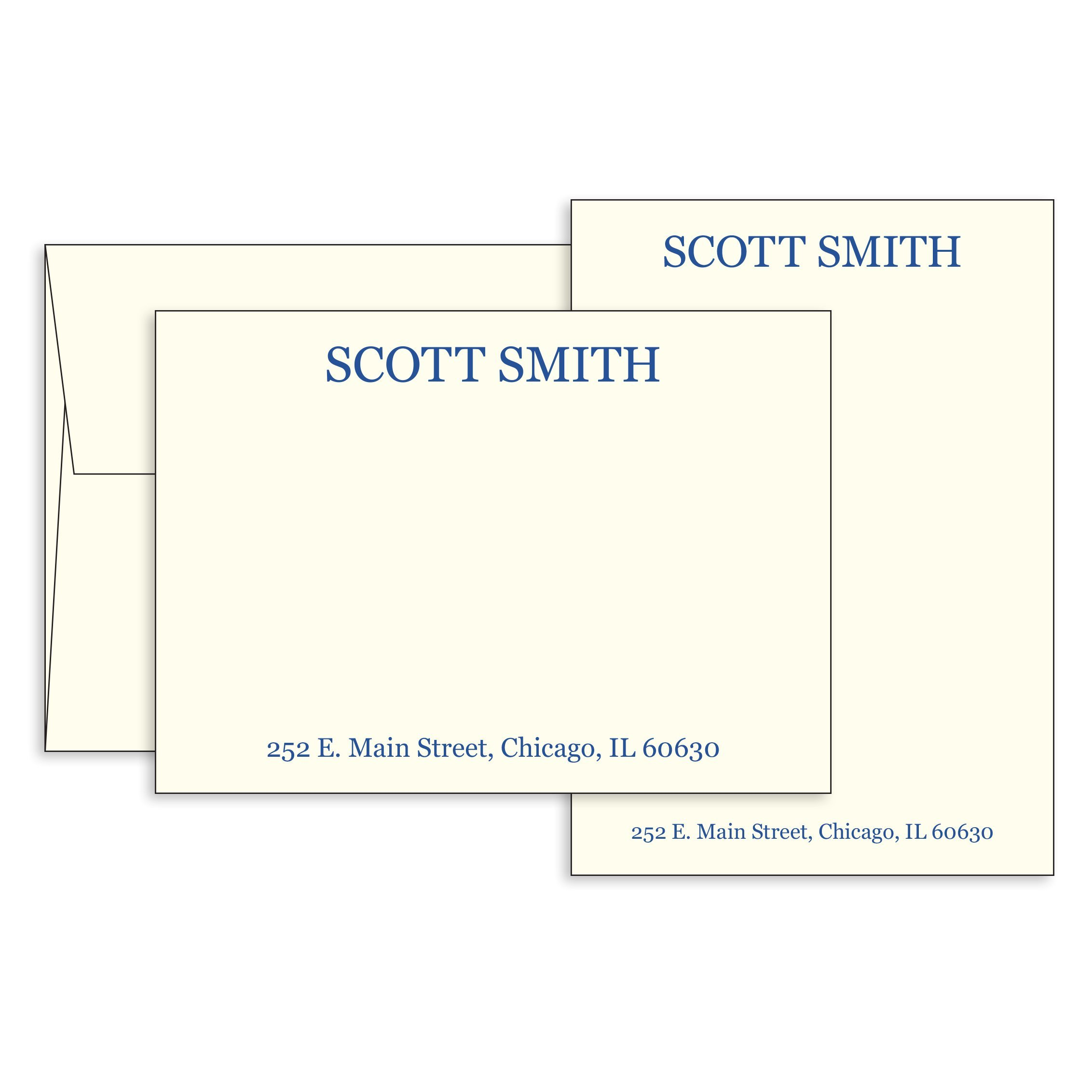 5'' x 7'' Custom Printed Flat Note Cards-100 Thick 120lb (14pt) Cream Paper & Matching Envelopes-Personalize & Choose Ink Colors. Business, Personal-Thank You Stationery