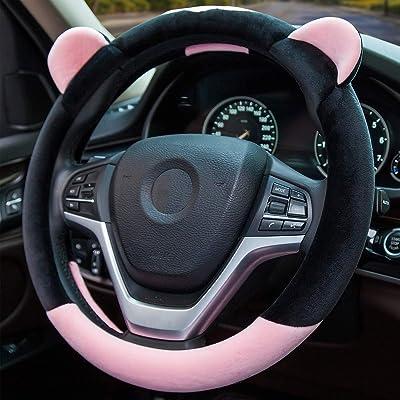ChuLian Cute Winter Warm Plush Auto Car Steering Wheel Cover for Women Girls, Universal 15 Inch Car Accessories, Pink: Automotive