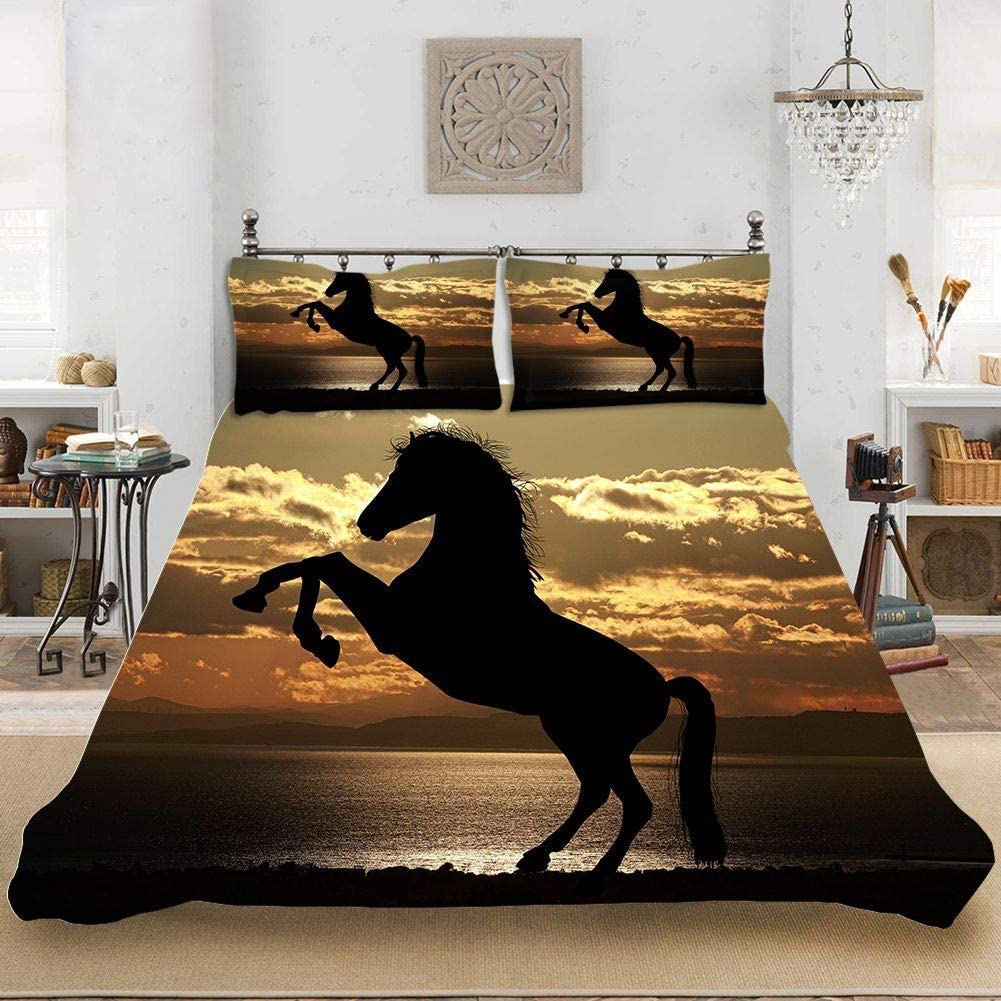 Wild Horses Duvet Cover Queen Size Black Horse Kids Quilt Cover Horse Printed Decor Bedding Set Animal Pattern Comforter Cover for Adult Kids Cowboy Unique Exotic Style Bed Cover Sunset Duvet Cover
