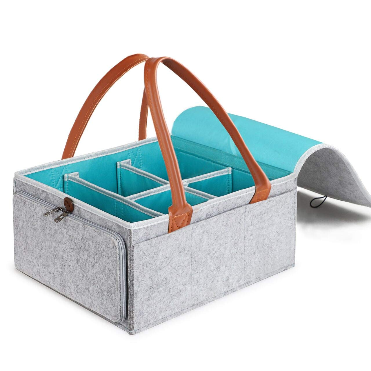 Syntus Baby Diaper Caddy Organizer Large Nursery Storage Bin Portable Car Travel Organizer Tote Bag for Diapers and Baby Wipes, Baby Shower Gift Basket for Boys Girls by Syntus