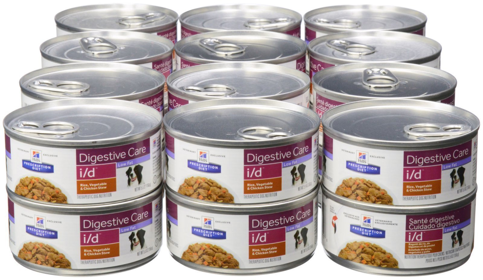 Hill's Prescription Diet i/d Canine Low Fat Gastrointestinal Restore - Rice, Vegetable & Chicken Stew - 24x5.5oz