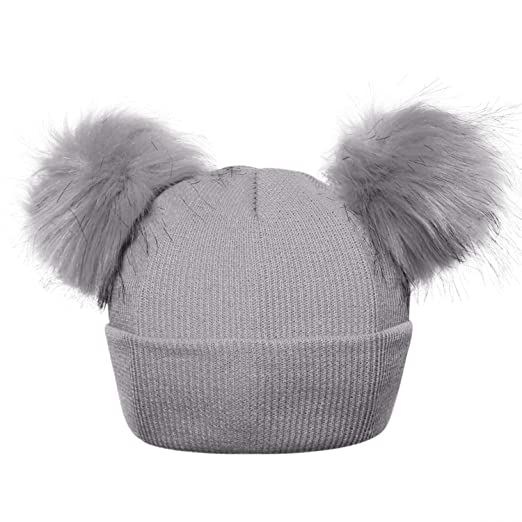 5657944b746 Image Unavailable. Image not available for. Color  Winter Knitted Baby Hats  Sweet Solid Hat with Two Fur Pompoms Balls Kids Caps ...