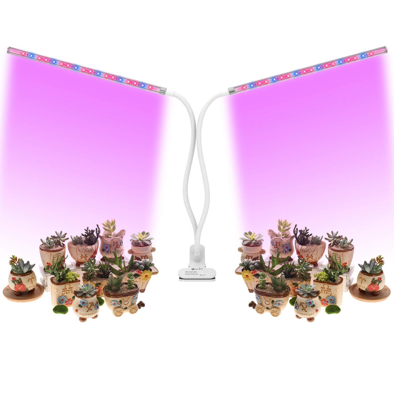 OxyLED LED Pflanzenlampe,Doppelkopf Pflanzenlampe mit Zeitfunktion,36 LED Pflanzenlichter,5 Stufen Helligkeit,360° Einstellbar fü r Zimmerpflanzen, Sukkulenten, Hydrokultur, Gemü se, Gewä chshaus D03-1686E-05-EU