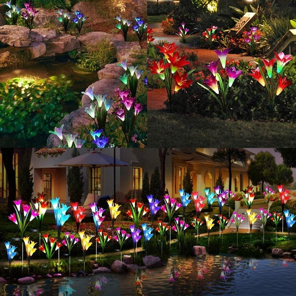 Outdoor Solar Flower Lights Patio Backyard (Blue/& Red) Multi-Color Changing LED Solar Outdoor Garden Lights for Garden 2 Packs Solar Garden Stake Lights with 8 Lily Flowers