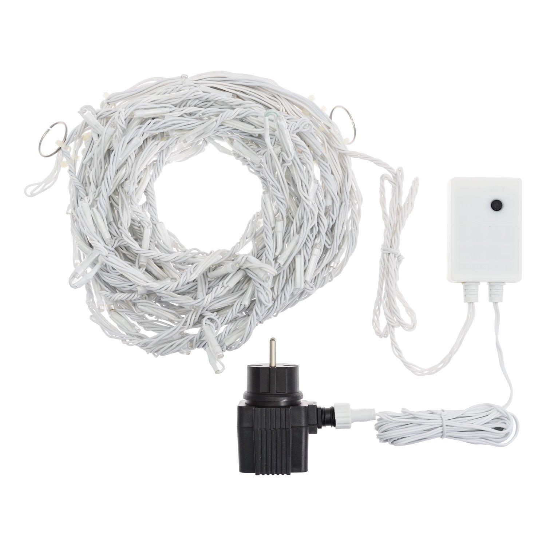 LuminalPark Eiszapfen-Lichterkette Snow Light, 3 x h 0,8 m, 192 LEDs warmweiß, weißes Gummikabel, 4 Geschwindigkeitsstufen, 36V-Trafo, 4 m Zuleitung, Innen- Außenbereich