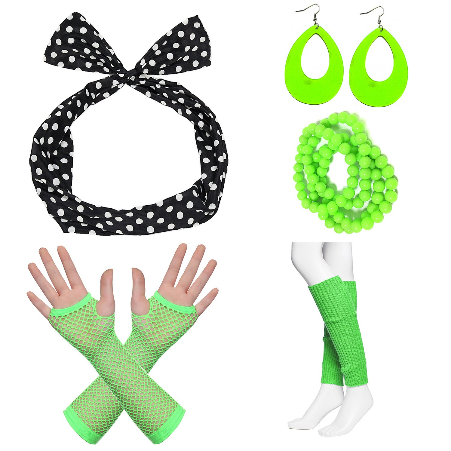 80s Fancy Outfit Costume Accessories Set,Leg Warmers,Fishnet Gloves,Earrings, Headband, Bracelet and Beads (OneSize, N17)