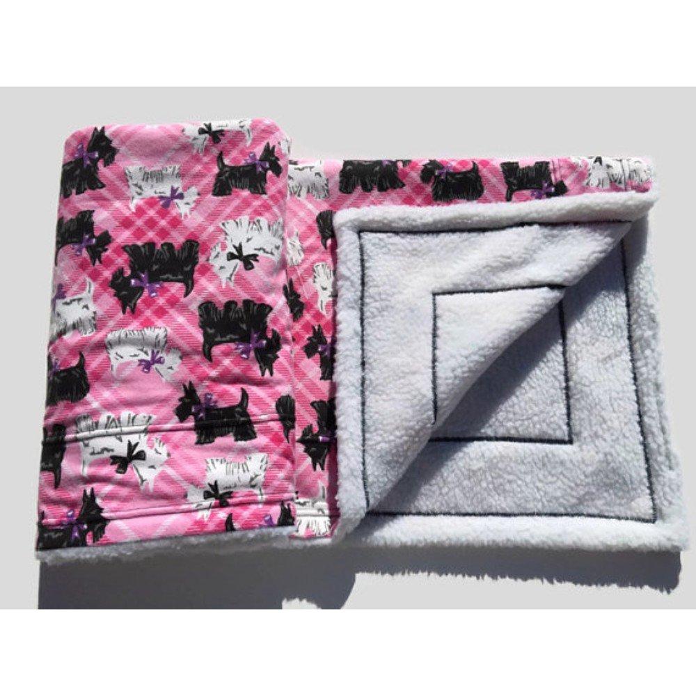 Scottish Terrier Blanket Scottie Pink Dog Bedding Size 39x29 Travel Bedding for Pets Washable Easy Care